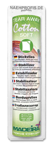 MADEIRA Stickvlies COTTON SOFT - weiß, Artikelnr. 9436 (Rolle 30 cm x 10 m)