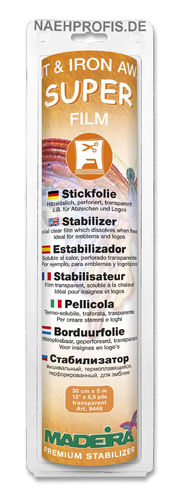 MADEIRA Stickvlies SUPER FILM - transparent, Artikelnr. 9448 (Rolle 30 cm x 5 m)